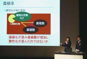 エコパークに関する研究結果を発表する韮崎高環境科学部の生徒=東京エレクトロン韮崎文化ホール