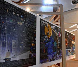 太陽や天体望遠鏡について解説するパネル=南アルプス市芦安芦倉